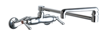 Chicago Faucets 445-DJ18ABCP - Adjustable Wall Mount Faucet with 18-inch Double-jointed Swing Spout and 2.2 GPM Aerator