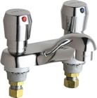 Chicago Faucets 802-V665ABCP - 4-inch Center Deck Mount Metering Faucet with 2.2 GPM Vandal Proof Aerator, 1-3/4-inch Vandal Proof MVP Metering Push Handle and MVP Metering Adjustable Cycle Time Closure Cartridge