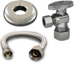 16-inch Stainless Steel Faucet Connector Kit 3/8-inch x 1/2-inch IP with 3/8-inch x 3/8 Comp 1/4 Turn Stops - 88-1015