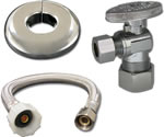 12-inch Stainless Steel Toilet Connector Kit 3/8-inch Comp x 7/8-inch Ballcock with 3/8-inch x 5/8-inch Comp 1/4 Turn Stops - 88-1035