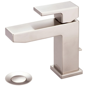 Pioneer 3MO160-BN Lavatory Faucet MOD Single Lever Handle Rigid Spout With Pop-Up 3/8 inch Flex, PVD Brushed Nickel