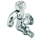 T&S Brass B-0720 Sill Faucet with Vacuum Breaker, 1/2 inch NPT Female Flanged Inlet, 3/4 inch Hose Threads, Polished Chrome