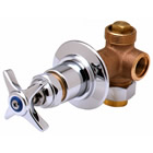 T&S Brass B-1020 Concealed Bypass Valve, 1/2 inch NPT Female Inlet And Outlet, 4-Arm Handle, Cold Index