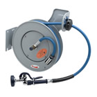 T&S Brass B-7232-01 Open Epoxy Coated Steel Hose Reel with 3/8 inch Id X 35' Hose, Spray Valve