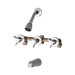 Union Brass 230 3 Handle, 11 inch Center Tub and Shower Faucet with Compression Cartridges, Metal Handles, Sweat and IPS Unions