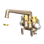 Union Brass 346 Rough Brass Laundry Faucet with Compression Cartridges, 6 inch Cast Spout, with Bolt and Sweat/IPS Unions