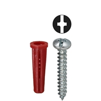 DOTTIE Red Collar Phillips/Slotted Drive Screw Anchor