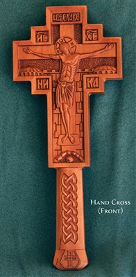 "Wooden Hand Crosses <br /><span style=""font-size:80%;"">Carved by the Monks of the Monastery of the Holy Archangels Michael and Gabriel in Kosovo</span>"