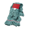 Super Loop Wet Mop Head, Cotton/Synthetic, Large Size, Green, 12/Carton