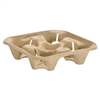 StrongHolder Molded Fiber Cup Tray, 8-32oz, Four Cups, 150/Pack, 2 Packs/Carton