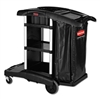 Executive High Capacity Janitorial Cleaning Cart, 22.5w x 38.5d x 20.5h, Black