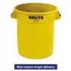 Round Brute Container, Plastic, 10 gal, Yellow, 6/Carton
