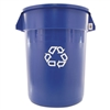 Brute Recycling Container, Round, 32 gal, Blue