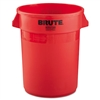 Round Brute Container, Plastic, 32 gal, Red