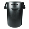 Brute Vented Trash Receptacle, Round, 44 gal, Black