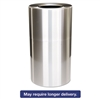 2-Piece Open Top Indoor Receptacle, Round, No Liner, Satin Aluminum, 35 gal