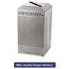 Silhouette Paper Recycling Receptacle, Square, Steel, 29gal, Silver Metallic