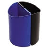 Desk-Side Recycling Receptacle, 3gal, Black and Blue