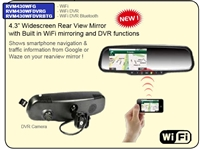 "RVM430WFDVRBTG - ACCELE 4.3"" LCD Rear View mirror W/built in Dash Cam,DVR, Blue Tooth and mirror capability"