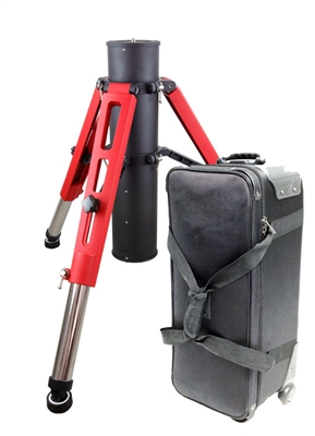 Red Tri-Pier with rolling case