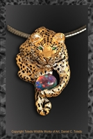 "Leopard Pendant ""Heart of the Thrill"" by wildlife artist Daniel C. Toledo, Toledo Wildlife Works of Art"