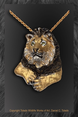 "Lion pendant ""Big Paw"" by wildlife artist Daniel C. Toledo, Toledo Wildlife Works of Art"