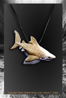 "Tiger Shark Tooth Pendant ""Sea Tiger"" by wildlife artist Daniel C. Toledo, Toledo Wildlife Works of Art"