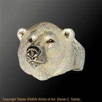 "Polar Bear Ring ""Conqueror of the North II"" by wildlife artist jeweler Daniel C. Toledo, Toledo Wildlife Works of Art"