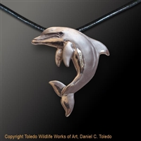 "Dolphin Pendant ""Angel in Motion"" by wildlife artist and jeweler Daniel C. Toledo, Toledo Wildlife Works of Art"