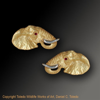 "Elephant Earrings ""Mini Monarchs"" by wildlife artist and jeweler Daniel C. Toledo, Toledo Wildlife Works of Art"