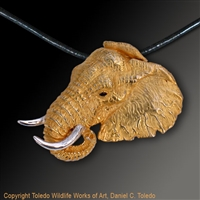 "Elephant Pendant ""Masai Monarch"" by wildlife artist and jeweler Daniel C. Toledo, Toledo Wildlife Works of Art"