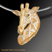 "Giraffe Pendant ""Elegant One"" by wildlife artist and jeweler Daniel C. Toledo, Toledo Wildlife Works of Art"