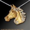 "Arabian Horse Pendant ""Desert Wind"" by wildlife artist and jeweler Daniel C. Toledo, Toledo Wildlife Works of Art"
