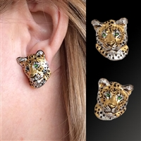 "Leopard Earrings ""Kopje Cats Too"" by wildlife artist and jeweler Daniel C. Toledo, Toledo Wildlife Works of Art"