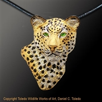 "Leopard Pendant ""Kopje Cat"" by wildlife artist and jeweler Daniel C. Toledo, Toledo Wildlife Works of Art"