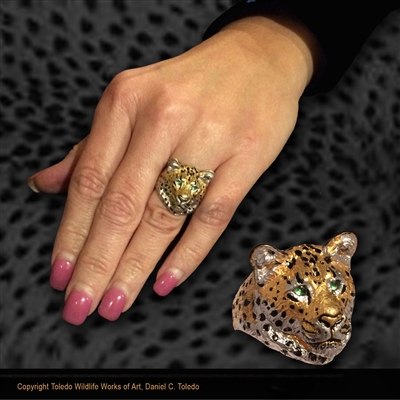 "Leopard Ring ""Charlene's Lady Leopard"" by wildlife artist and jeweler Daniel C. Toledo, Toledo Wildlife Works of Art"