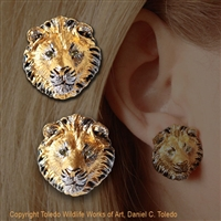 "Lion Earrings ""Sons of Simba"" by wildlife artist and jeweler Daniel C. Toledo, Toledo Wildlife Works of Art"