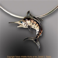 "Marlin Pendant ""Charlotte's Marlin"" by wildlife artist and jeweler Daniel C. Toledo, Toledo Wildlife Works of Art"