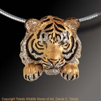 "Tiger Pendant ""Bengal Mystique"" by wildlife artist and jeweler Daniel C. Toledo, Toledo Wildlife Works of Art"
