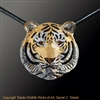 "Siberian Tiger Pendant ""Connie's Khan"" by wildlife artist and jeweler Daniel C. Toledo, Toledo Wildlife Works of Art"