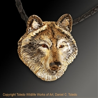 "Wolf Pendant ""Handsome Howler"" by wildlife artist and jeweler Daniel C. Toledo, Toledo Wildlife Works of Art"