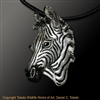 "Zebra Pendant ""Serengeti Sibling"" by wildlife artist and jeweler Daniel C. Toledo, Toledo Wildlife Works of Art"
