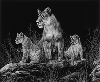 "SCRATCHBOARD PRINT ""MOM AND THE KIDS"""