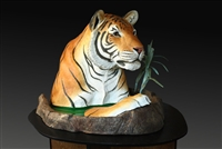 "Bronze tiger sculpture ""Ruff Cat"" by wildlife sculptor Daniel C. Toledo, Toledo Wildlife Works of Art"