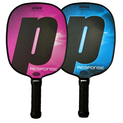 The Response Paddle is available in blue or pink, and with standard or thin grip options.