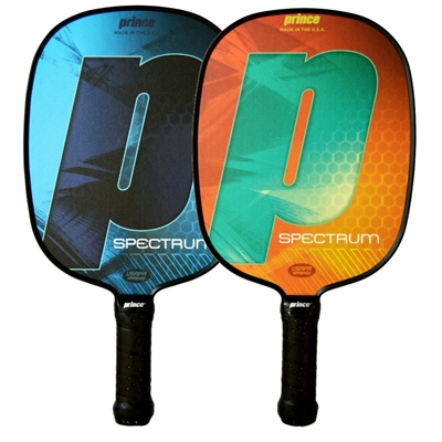 The Spectrum Paddle is available in blue or orange, and with standard or thin grip options.