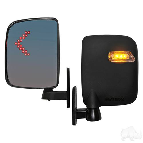 Deluxe Side Mirrors with LED Indicators Running/Turn Signal Lights 12-48V, 3 Wire