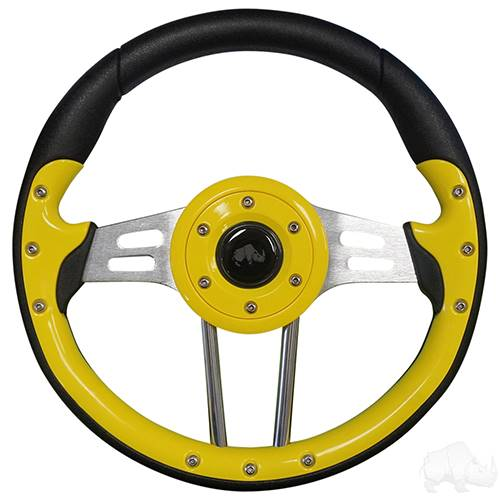 Aviator 4 Steering Wheel, Yellow Grip/Brushed Aluminum Spokes