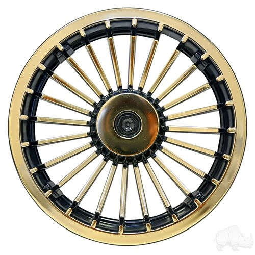 "8"" Turbine Black/Gold Wheel Cover  - Set of 4"