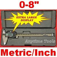 "8"" ELECTRONIC DIGITAL CALIPER w/LARGE DISPLAY and FRACTIONS"